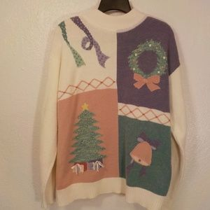 Koret Sport Christmas Sweater XL White Purple